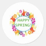Primavera feliz pegatina redonda