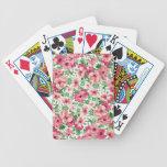 Primavera floral, abstracta en rosa y verde barajas de cartas