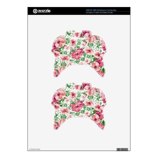 Primavera floral, abstracta en rosa y verde mando xbox 360 calcomanía
