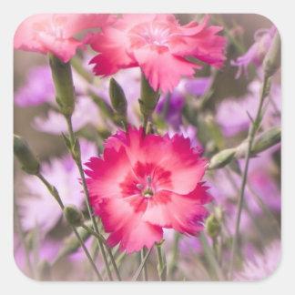 Primavera floral pegatina cuadrada