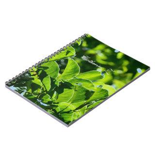 Primavera hermosa, hojas del verde del verano. libro de apuntes