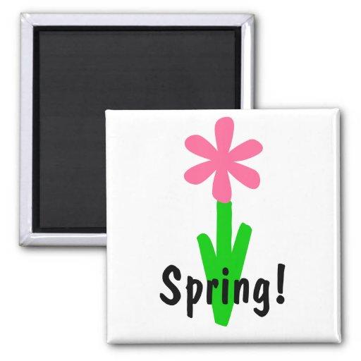 ¡Primavera! Imán Cuadrado