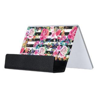 Primavera linda floral y modelo de la acuarela de caja de tarjetas de visita para escritorio