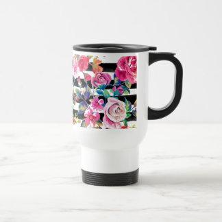Primavera linda floral y modelo de la acuarela de taza de viaje
