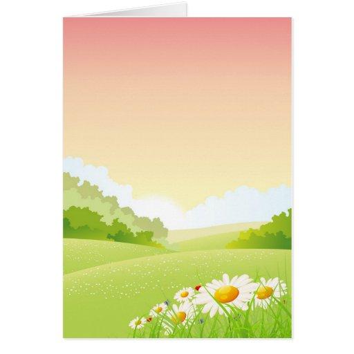 Primavera o paisaje de las flores del verano tarjeta de felicitación