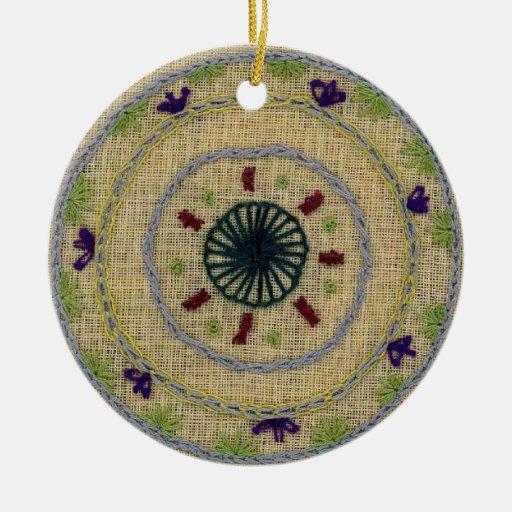 Primavera/ornamento de la mandala del otoño adorno navideño redondo de cerámica