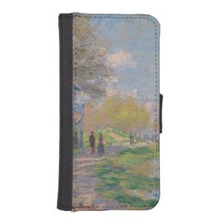 Primavera por el Sena de Claude Monet Carteras Para Teléfono