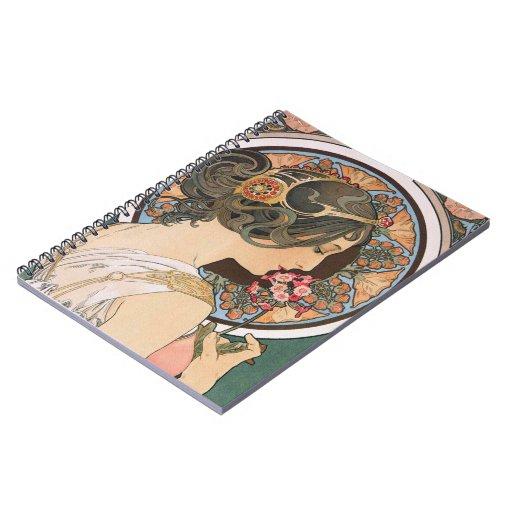 Primavera por Mucha - arte floral Nouveau del vint Cuaderno