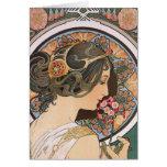 Primavera por Mucha - arte floral Nouveau del vint Tarjetón
