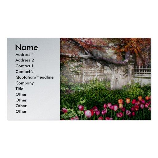 Primavera - puerta - mi jardín de la primavera tarjetas de visita
