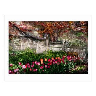 Primavera - puerta - mi jardín de la primavera tarjeta postal
