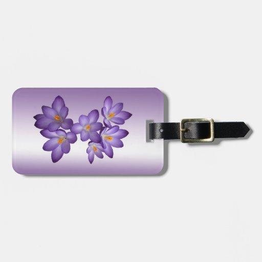 Primavera púrpura del azafrán floral etiquetas para equipaje