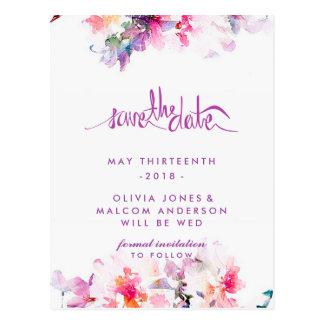 Primavera púrpura que casa reserva floral la fecha tarjetas postales
