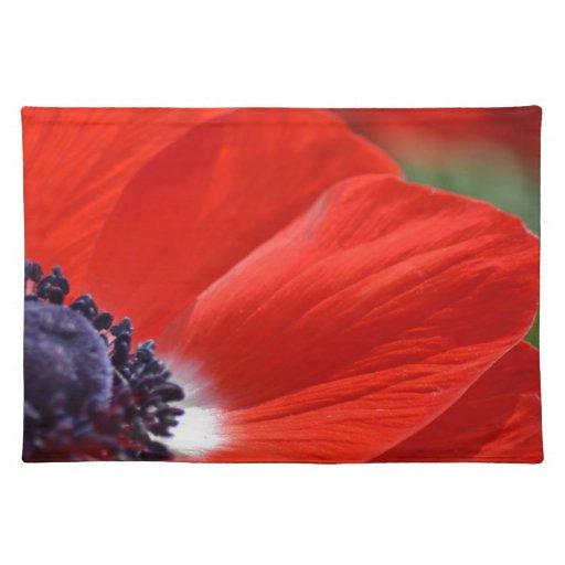 Primavera roja de la amapola floral mantel individual