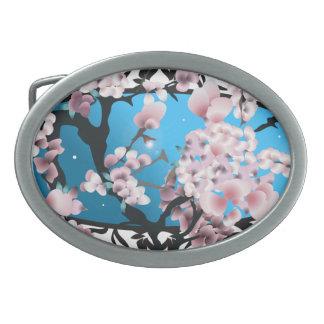 Primavera Sakura del flor. Silueta elegante de la Hebilla Cinturón Oval