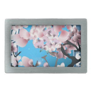 Primavera Sakura del flor. Silueta elegante de la Hebilla Cinturón Rectangular