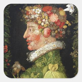 Primavera, una serie que representa las cuatro pegatina cuadrada