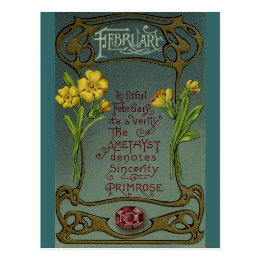 Primavera y amatista del cumpleaños de febrero tarjeta postal
