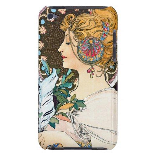 Primavera y pluma de Mucha iPod Touch Carcasas