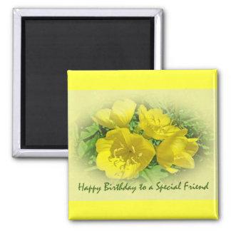 Primaveras del amarillo del cumpleaños del amigo - imán cuadrado