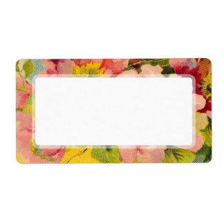 Primaveras florales del vintage rosado elegante el etiqueta de envío