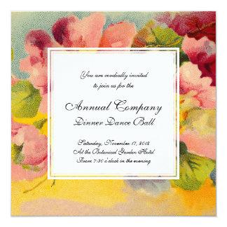 Primaveras florales del vintage rosado elegante invitación 13,3 cm x 13,3cm