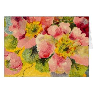 Primaveras florales del vintage rosado elegante tarjeta de felicitación