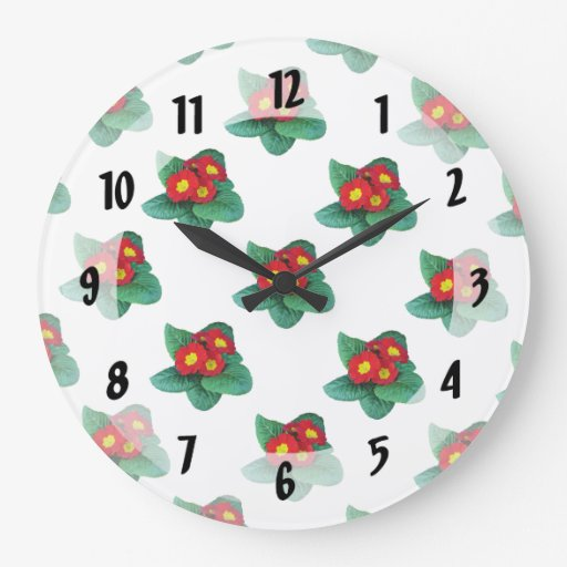 Primaveras rojas reloj redondo grande
