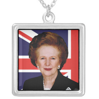 Prime Minister Margaret Thatcher Square Pendant Necklace
