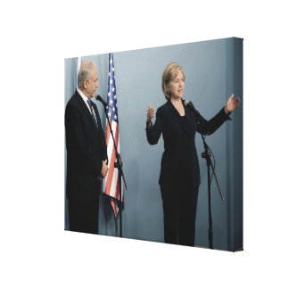 Prime Minister Netanyahu & Hillary Clinton Canvas Print