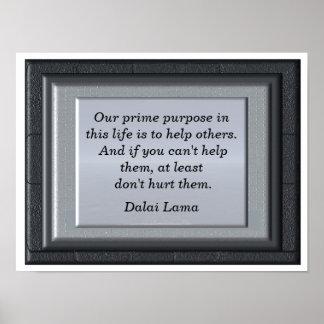 Prime purpose - art print- Dalai Lama quote Poster