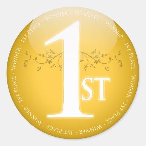 Primer 1r) premio del lugar del oro ( pegatinas redondas