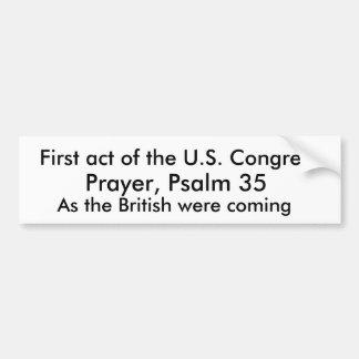 Primer acto del congreso de los E E U U Etiqueta De Parachoque