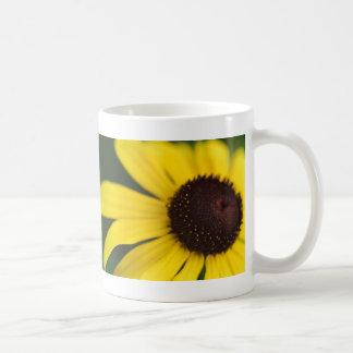 Primer amarillo de la flor taza de café