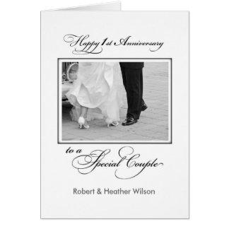 Primer aniversario de boda conocido de encargo tarjeta de felicitación