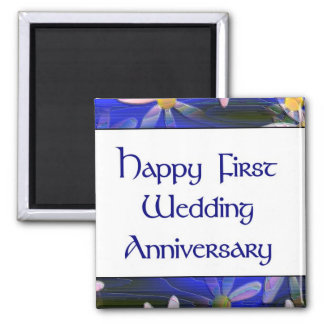 Primer aniversario de boda feliz imán de nevera
