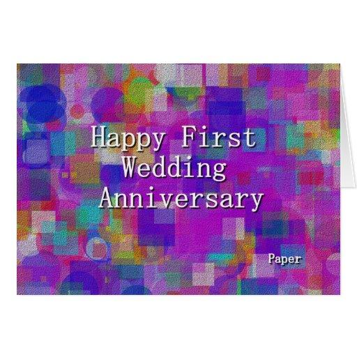 Primer aniversario de boda feliz tarjeta