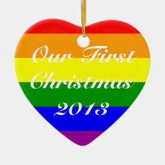 Primer año del personalizar del navidad del adorno de cerámica en forma de corazón