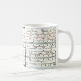 Primer antiguo de la regla de diapositiva del taza de café