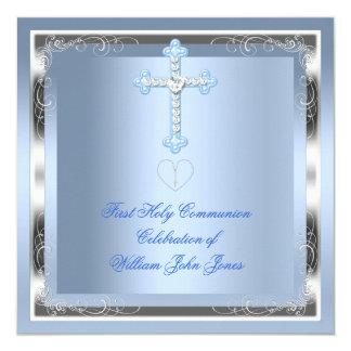 """Primer azul 2 de la plata de la comunión santa del invitación 5.25"""" x 5.25"""""""
