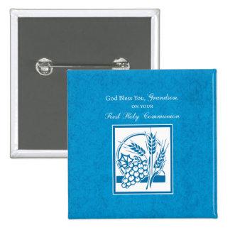 Primer azul de la comunión del nieto, trigo, uvas pin cuadrado