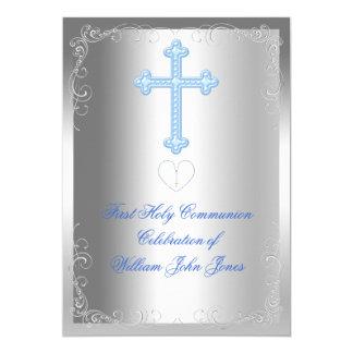 Primer azul de la plata de la comunión santa del invitación 12,7 x 17,8 cm
