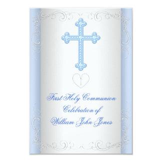 """Primer azul de la plata de la comunión santa del invitación 3.5"""" x 5"""""""