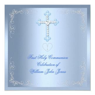 """Primer azul de la plata de la comunión santa del invitación 5.25"""" x 5.25"""""""