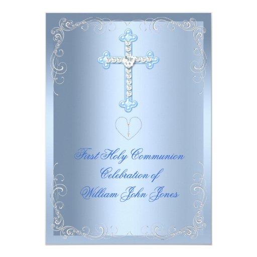 """Primer azul de la plata de la comunión santa del invitación 5"""" x 7"""""""