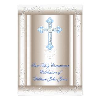 """Primer azul de la sepia de la comunión santa del invitación 5"""" x 7"""""""