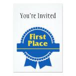 Primer azul del lugar y cinta del oro invitación 12,7 x 17,8 cm