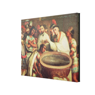 Primer bautismo de los indios de los Dominicans Lona Envuelta Para Galerias