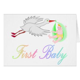 Primer bebé (cigüeña) tarjeta de felicitación