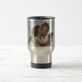 Primer beso - pintura hermosa del ángel taza térmica